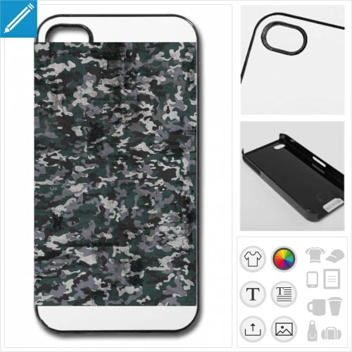 Coque camouflage pour téléphone, camouflage bleu vintage à imprimer en ligne.