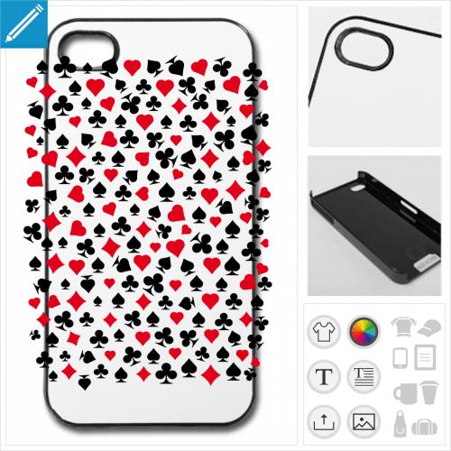 Coque carte de jeu, symboles de jeu de cartes à imprimer sur votre coque de téléphone.