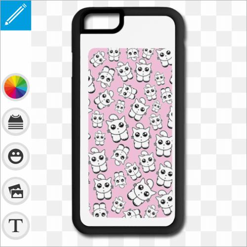 Coque chatons rose, chatons kawaii sur fond rose, créez votre coque personnalisée en ligne.