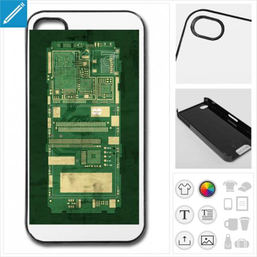 Coque circuit imprimé pour téléphone à personnaliser en ligne.