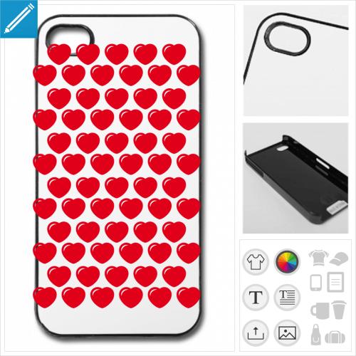 Coque coeurs personnalisée, choisissez la couleur des coeurs et créez une coque originale