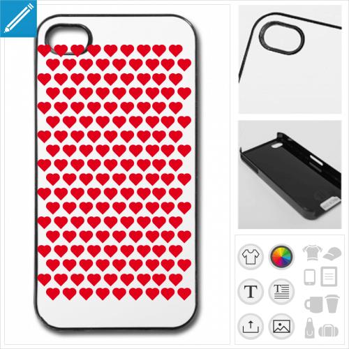 Coque coeurs répartis en motif décoratif régulier, à imprimer en ligne. Créez votre coque coeurs.