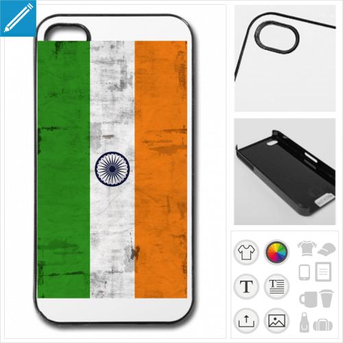 Coque drapeau indien vintage à imprimer en ligne, personnalisez votre coque de téléphone.