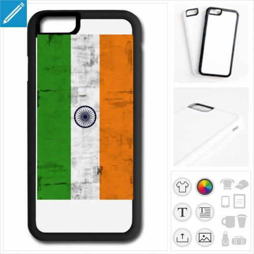 coque iPhone drapeau indien à personnaliser en ligne