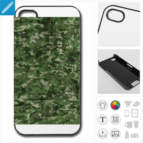 Coque militaire, coque camouflage verte à imprimer en ligne.