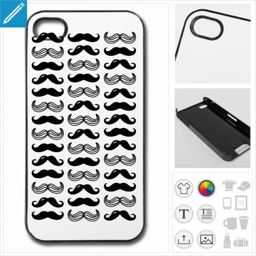 Coque moustache, moustaches variées réparties en motif décoratif.