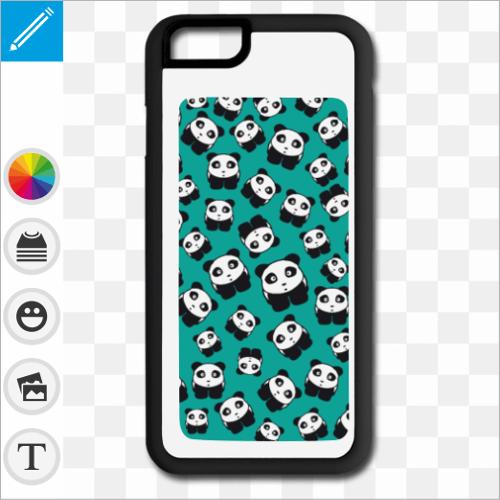 Coque pandas kawaii sur fond bleu roi à imprimer en ligne.