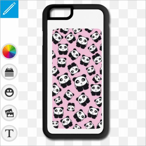 Coque pandas kawaii sur fond rose, créez votre coque portable pandas.
