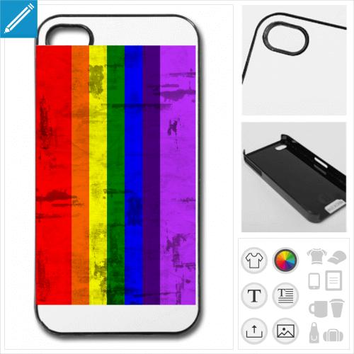Coque rainbow, arc en ciel vintage à imprimer en ligne.