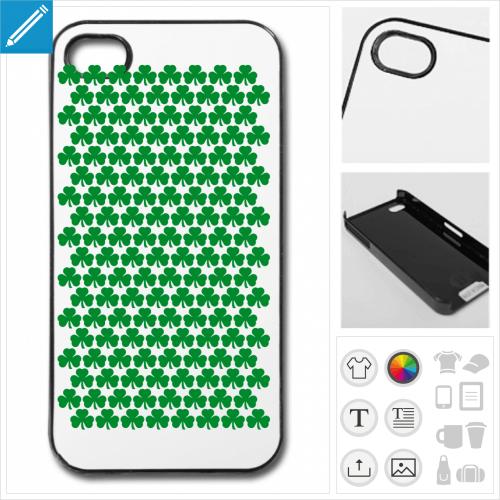 Coque trèfle irlandais à imprimer en ligne. Personnaliser votre coque de téléphone.