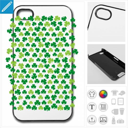 Coque trèfles irlandais 2 couleurs personnalisables, à imprimer pour la saint Patrick.