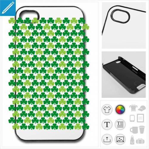 Coque trèfles irlandais alternés vert clair et vert foncé, trèfles personnalisables pour la Saint Patrick.