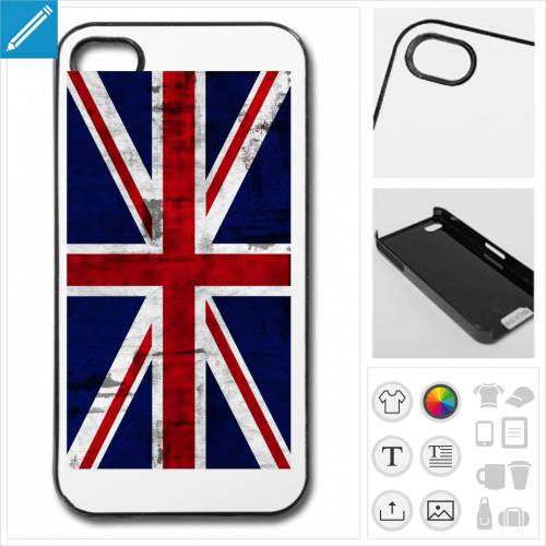 Coque union jack, coque de téléphone drapeau anglais vintage à personnaliser et imprimer en ligne.
