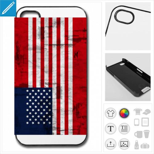 Coque usa à personnaliser en ligne, créer sa coque drapeau américain.
