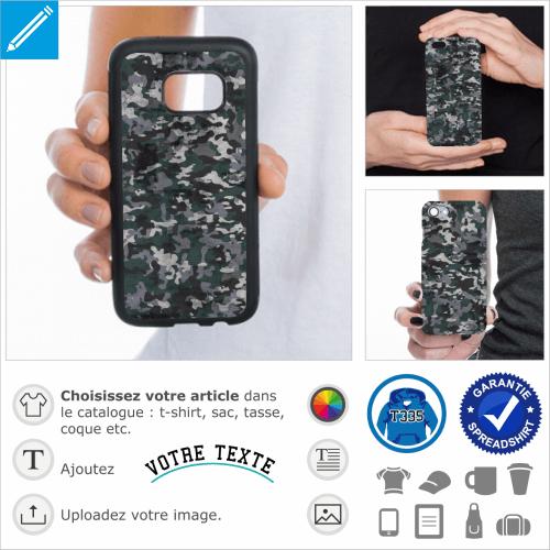 Coque camouflage, design militaire bleu à imprimer sur coque portable.
