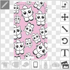 Chatons kawaii rigolos sur fond rose, un design spécial coque de téléphone.