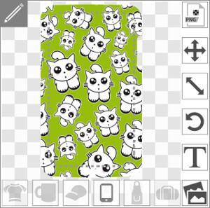 Coque mobile Chats rigolos en tapisserie variée sur fond vert à designer en ligne.