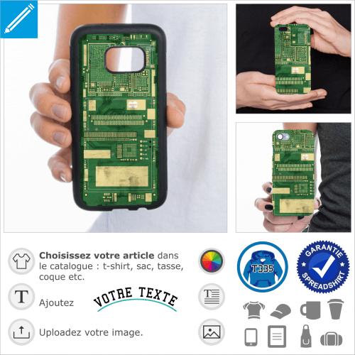 Coque circuit imprimé longue, un design pour l'impression en ligne.
