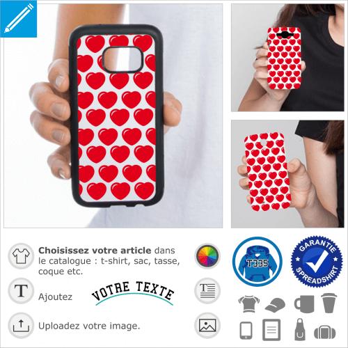 Coeurs ronds personnalisables à imprimer sur coque.