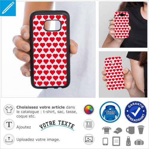 Coeurs classiques en grille à imprimer sur coque iPhone.