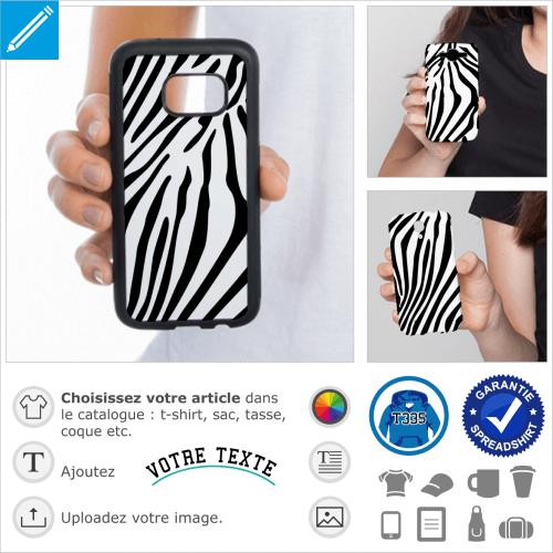 Rayures fines pour coque smartphone, un design zébré.