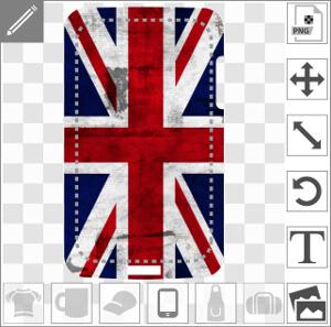 Coque smartphone Drapeau anglais étiré à texture usée vintage customisé en ligne.