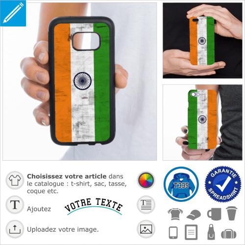 Drapeau de L'Inde à texture vintage pour personnalisation de coque de téléphone.