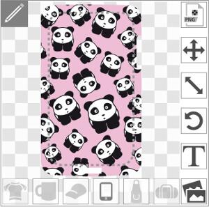 Pandas rigolos en style anime à imprimer sur coque iPhone.