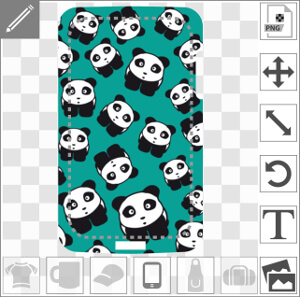 Motif pandas kawaii sur fond bleu pour coque de téléphone.