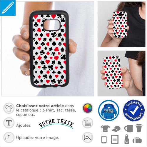 Poker, motif pour décoration de smartphone composé de symboles de jeu de arte/