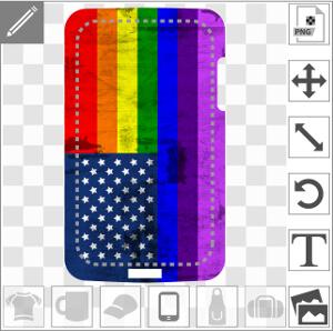Drapeau américain vintage aux couleurs du drapeau gay arc-en-ciel, avec sept bandes de couleur remplaçant les bandes rouges et blanches du drapeau amé