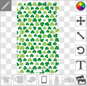 Trèfles shamrocks à trois feuilles répartis aléatoirement sur une zone rectangulaire adaptable aux dimensions des coques portables et mobiles.