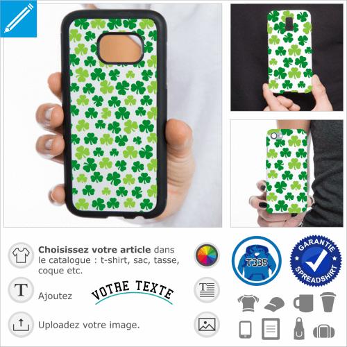Trèfles irlandais à trois feuilles, design deux couleurs conçu pour l'impression sur coque iPhone et smartphones. Motif décoratif shamrocks irrégulier