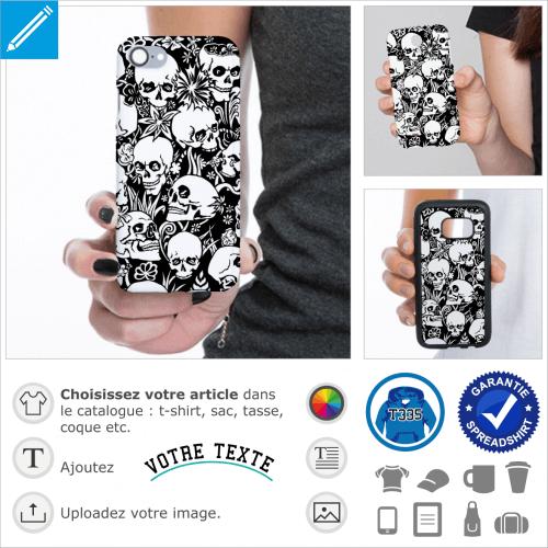 Tête de morts et fleurs, design memento mori à imprimer sur coque iPhone.