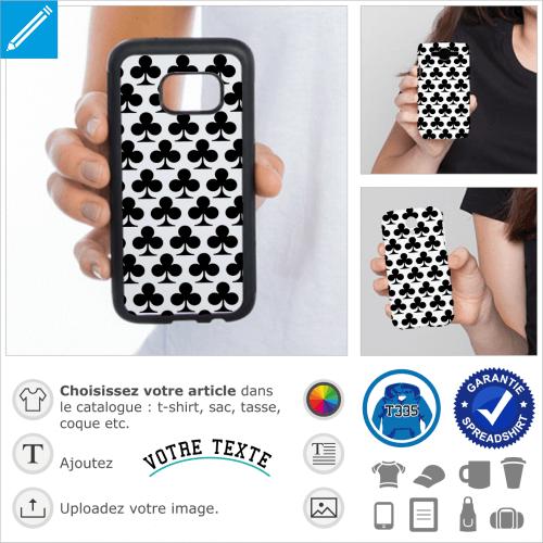 Trèfle poker et carte de jeu, symboles à imprimer sur coque portable.
