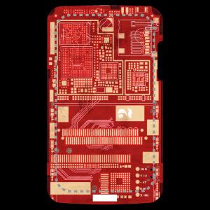Coque Motif vintage circuit imprimé sur fond rouge à designer en ligne.
