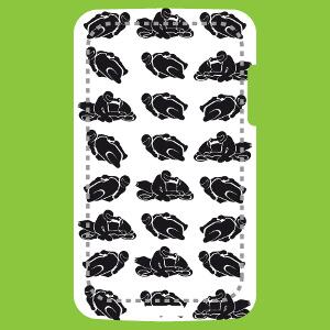 Design moto pour coque iPhone et smartphones avec petits pictos de motards en course.