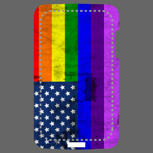 Coque iPhone personnalisable aux couleurs du rainbow flag appliquées au design du drapeau américain.