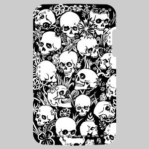 Coque smartphone Design têtes de mort et fleurs personnalisé.