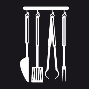 Tablier Fourchettes spatules et couteaux stylisés customisé.