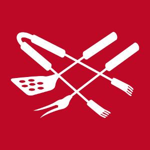 Tablier de cuisine et grillade avec ustensiles stylisés disposés en croix.