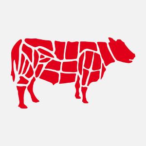 Silhouette de vache découpée en morceaux de bouchers, un design cuisine et barbecue.