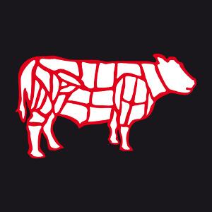 Vache et découpe de boucher, un design pour tabliers de cuisine.