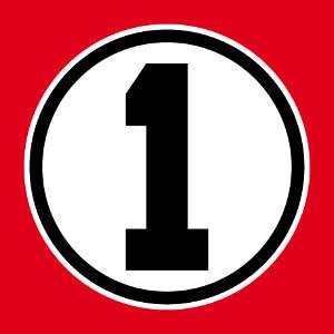 Créez un t-shirt de champion avec ce design numéro 1 en typo carrée écrite au centre d'un cercle plein.