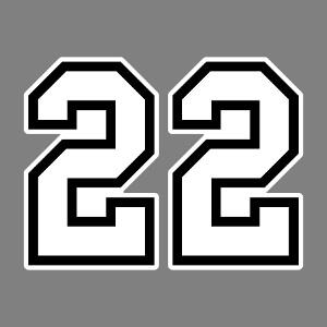 Numéro 22 écrit en gros caractères, un design nombres et maillots de sport.