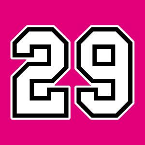 Accessoire Numéro 29 écrit en gros chiffres angulaires deux couleurs à imprimer.