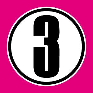 3 inscrit dans un cercle, un design chiffres et nombres à personnaliser.