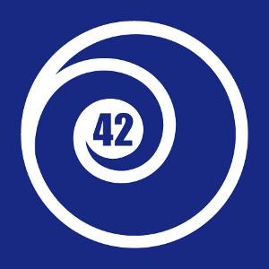 42 entouré d'une spirale fermée, un design geek vectoriel spécial impression t-shirt.