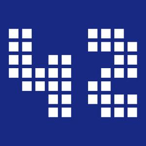 42, motif geek et nerd, écrit en 42 pixels, un design h2g2 et nerd.