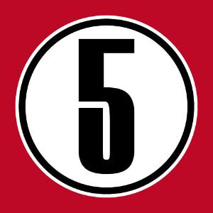 5, un design nombre et numéros fétiches personnalisable spécial impression de t-shirt.